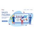 sales figures flat landing page template vector image