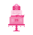 Save the Date - Wedding Card with Cake vector image