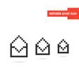 set black editable pixel art envelopes vector image