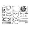 set doodle frame dividers and design element vector image