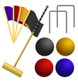 Set of objects for a game of croquet vector image