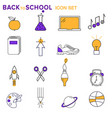 set school and study related modern icons vector image