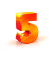 shiny orange red number five isolated on white vector image vector image