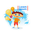small boy smart holding light bulbs child vector image