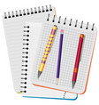 three notebooks and pens vector image