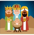 three wise kings baby jesus manger vector image vector image