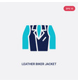 two color leather biker jacket icon from clothes vector image vector image