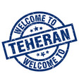 welcome to teheran blue stamp vector image vector image