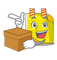 with box cartoon note paper with conceptual idea vector image