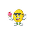 with ice cream melon cartoon character on white vector image vector image