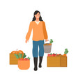 woman on harvesting season lady with carrots vector image vector image