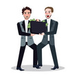 two business man fighting for money cash on bag vector image