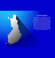 abstract map of finland with long shadow on blue vector image vector image