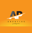 ap a p letter modern logo design with yellow vector image vector image