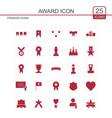 award icons set red vector image