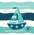 Background with cute ship vector image vector image