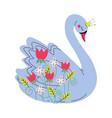 beautiful grey swan princess with golden crown vector image vector image
