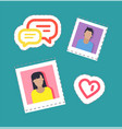 bloggers male and female stickers set vector image vector image