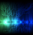 blue-green wave abstract equalizer and circuit vector image vector image