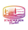 bright farmer market label or emblem vector image vector image