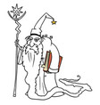 cartoon medieval fantasy wizard sorcerer or royal vector image