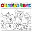 coloring book with farm and horse vector image