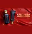 cosmetics bottles mockup banner beauty body care vector image