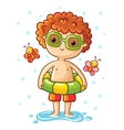cute little boy on sea vector image vector image