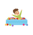 cute little boy playing in pool with colorful vector image vector image