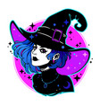 cute young witch withbeautiful iridescent hair vector image vector image