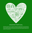 discover portugal concept with icons in line style vector image vector image