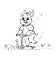 doodle cute pig riding a scooter vector image vector image