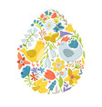 easter egg filled with cute chicken and flowers vector image vector image
