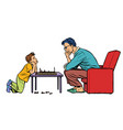 father and son play chess vector image
