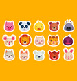 flat set of cute animal faces pig panda vector image