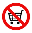 Forbidden sign with cart icon vector image vector image