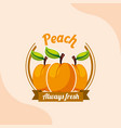 fruit peach always fresh emblem vector image