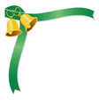 Golden wedding bell and green ribbon vector image vector image