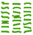 green ribbon set in isolated white background vector image vector image