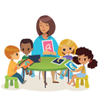 Group of Happy Children and Tiitor with tablets vector image vector image