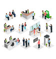 isometric people in bank collection vector image vector image
