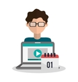 Laptop and boy blogger design vector image vector image