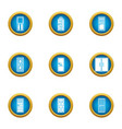 lobby icons set flat style vector image vector image