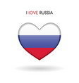 love russia symbol flag heart glossy icon vector image vector image