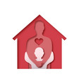 man hugging kid in papercut house family concept vector image