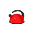 metal red kettle with black plastic handle vector image