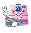 photographer instant camera in a shape character vector image vector image