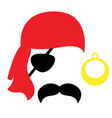 pirate photo booth props face set - mustache vector image