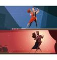 Retro Dance Studio 2 Banners Set vector image vector image