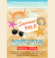 sea sand beach summer sale poster vector image vector image